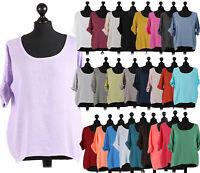 Italian Ladies Plain Linen Quirky Lagenlook Lightweight Crop Top Short Shirt