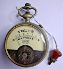 VINTAGE VOLT ELECTRICAL GAUGE - Fob Watch Style Steampunk Meter Old Electric