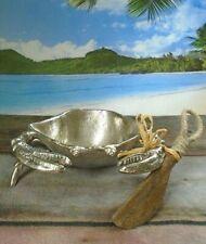 Pier 1 Polished Aluminum Crab Bowl & Wood Spreader Set