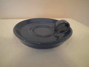 "Bybee Pottey - Kentucky - Candlestick Candle Stand Holder, Blue, 5-3/4"" diameter"