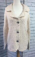 Cream Bobble Knit Warm Winter Cardigan Jacket Metal Buttons Boxy Size 24/26 WT6