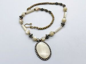 VINTAGE MOTHER OF PEARL MOP STATEMENT PENDANT BEAD LADIES NECKLACE