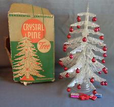 Vintage Plastic Crystal Pine Christmas Tree Centerpiece w/ Mercury Glass Bulbs
