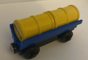 Thomas The Train Wooden Toy Blue & Purple Barrel Car Molasses & Flour Barrels