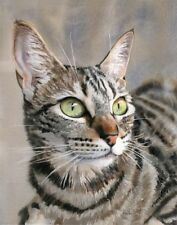Tabby Cat Art Painting PRINT Watercolor Portrait Realistic Realism Tiger Stripes