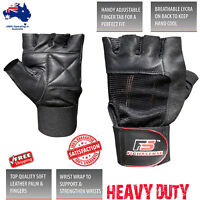 Best WEIGHT LIFTING WORKOUT Training Motorcycle LEATHER Gym FINGERLESS Gloves