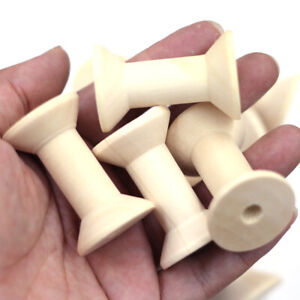 5Pcs Wooden Sewing Empty Thread Spools Wood Natural Color Jewelry DIY Findings