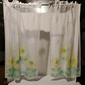 """Curtains Sunflower - 2 panels. 36"""" long x 28"""" wide. Clean, never used."""