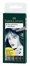 Faber-Castell  Pitt Artists Pen Set 6 Shades Of Grey Soft Brush Nib