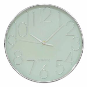 Silver & Sage Green Wall Clock By Hometime 30cm, 3D Numbers On Face (W7366)