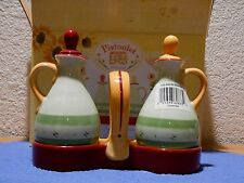 Pfaltzgraff Pistoulet Cruet Set including Box Oil & Vinegar Cruet Set Stoppers