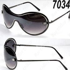 DG Eyewear Womens Mens Shield One Lens Designer Sunnies Black shade/Black lens