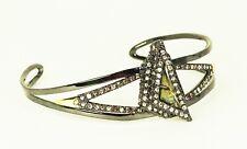 ALEXIS BITTAR Black Rhodium Gold Plated Pyrite Doublet & Crystals Cuff Bracelet
