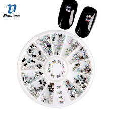 DIY 1 Wheel Charm Bow Nail Art Tips Acrylic Crystal Decorations Jewelry ZP020