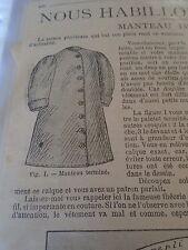 """PATRON ORIGINAL POUR LA POUPEE """" BLEUETTE """"MANTEAU IMPERMEABLE JANVIER 1907"""