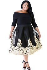 Abito ricamo Party Taglie forti Grandi Curvy Formosa Plus Size Tulle Dress XXL