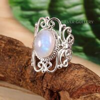 Moonstone Solid 925 Sterling Silver Ring , Handmade Ring Size -8 R 367