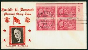 Mayfairstamps US FDC 1945 Franklin D Roosevelt 2c Block First Day Cover wwr_0130