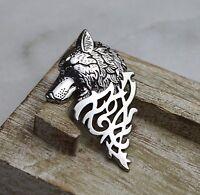 Lovely Retro Men's Silver Wolf Badge Lapel Pin Stick Brooch