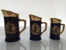 NEW LIMOGES FRANCE MINIATURES Set X3 COLLECTIBLE WATER PITCHERS COBALT BLUE GOLD