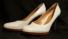 """SERGIO ROSSI White Leather Round Toe Pumps Size 41 Wooden 3"""" Heel"""