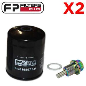 2 x WCO173NM Wesfil Oil Filter + M14x1.5 Magnetic Sump Plug Isuzu D-Max, MU-X