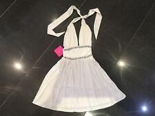 NWT Paris Hilton New & Gen. Ladies Cream Cotton Jersey Halter Neck Dress UK 8/10