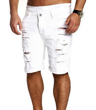Men's Skinny Runway Straight Short Denim Pants Destroyed Ripped Jeans Shorts UK