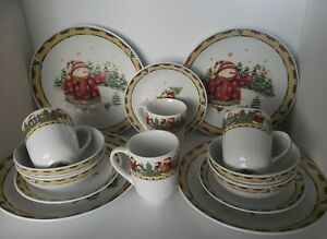 Snowman Frolic by Gibson Design- Dinnerware Set Service for 4 - 16 pcs - NWB