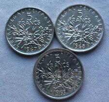 MONNAIES ANCIENNES 5F SEMEUSE ARGENT 1967 1968 1969 LES PLUS RARES
