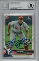 Alec Bohm Philadelphia Phillies 2018 Bowman Draft Rookie Signed Card Beckett BAS