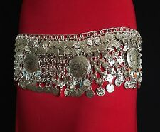 SILVER TONED BELLY DANCE BELT TRIBAL COSTUME BELLY DANCING COINS GYPSY LOOK