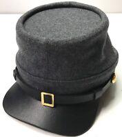 CIVIL WAR CSA CONFEDERATE INFANTRY DARK GREY WOOL KEPI FORAGE CAP HAT-MEDIUM