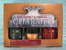 CND Shellac CHARMED SERENE GREEN & SCARLET LETTER Gel Polish Set FREE ADDITIVE