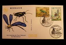 MONACO PREMIER JOUR FDC YVERT  1569/70    CICINDELE + AESCHNE    2+2,20F    1987