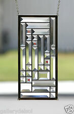"""Stained Glass Window Panel -""""TWILIGHT""""-Clear, Bevels, Small Transom or Sidelight"""