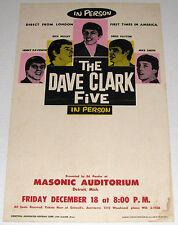 Original 1964 DAVE CLARK FIVE Cardboard Boxing Style Concert Poster - Detroit