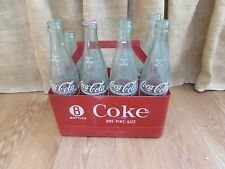 Vintage 8 Pack of Green Coca-Cola Bottles in Plastic Carrier #2066