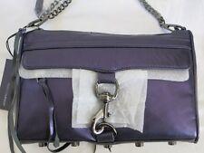 Rebecca Minkoff MAC CLUTCH NAVY Gunmetal FULL Sz Purse Handbag Crossbody Metalli