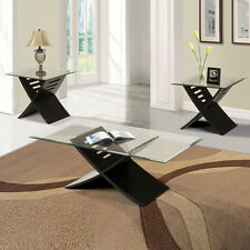 Contemporary 3PC Coffee End Table Set Black 5mm Tempered Clear Glass Top Stand