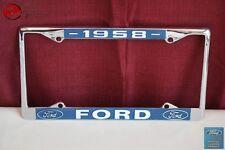 1958 Ford Car Pick Up Truck Front Rear License Plate Holder Chrome Frame New