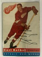 1954-55 Topps Earl Reibel Rookie Card #52 Detroit Red Wings Vintage Old