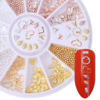 3D Nagelsticker Strass Stud Dekoration Im Rad Rose Gold Silber Niet Dekoration