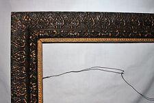 "Vintage or Antique Ornate Black & Gold Picture Art Mirror Frame 16"" x 20"""