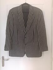 "Desch Mens Striped Herringbone Black White Jacket Blazer 46"" Pure Wool Boating"