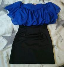 Sexy Kleid mit Minirock in schwarz und blau Bluse v. Krisp Gr. 36/38