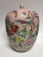"""Chinese Ginger Jar Pink Famille Rose Chrysanthemum Pheasants China Lg 12"""" Lidded"""