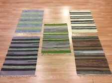 MIX PACK of 5 X Striped Handloomed 100% Cotton Rag RUGs Durrie Mat 60x90cm -70%