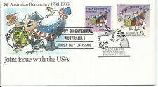 1988 Bicentenary Joint Issue With Usa set 2 Stamps Fdi Sydney Nsw & Washington