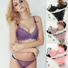 UK Ladies Sexy Embroidered Lace See-through Bra Set Lingerie Thongs 32-42ABCDDDE